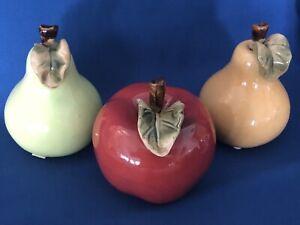3 Pieces ~ Faux Fruit Life Size Realistic Ceramic Kitchen DecorApple & 2 Pears
