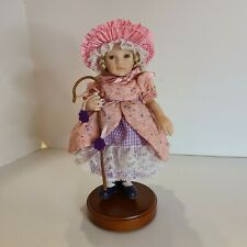 """8"""" Porcelain Paulinettes By Pauline Little Bo Peep Doll w/Cane & Stand"""