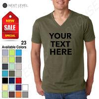 Personalized Custom Text - Next Level Men's Premium CVC V-Neck Soft T-Shirt 6240