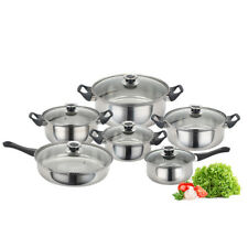 Stainless Steel Cookware Set 12 Pcs Kitchen Fry Pots Pans Saucepan Cooking Tool