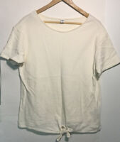 Old Navy Womens Classic Short Sleeve Scoopneck Blouse Top Cotton White Size L