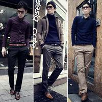 Men Slim Business Pants Casual Fit Trousers Formal Long Suit Straight Trouser