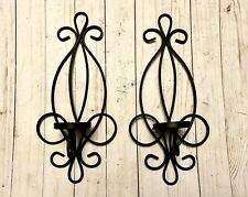 Beautiful Vintage Set of Black Metal Scroll Design Candle Wall Sconces