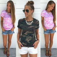 UK Womens Camouflage Short Sleeve T-Shirt Ladies Summer Casual Tee Tops Blouse