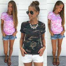 Womens Casual Camouflage T-Shirt Short Sleeve Tops Loose Summer Blouse Shirts