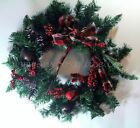 62cm Red Tartan Jingle Bell Pine Berry Wreath Christmas Xmas Table Decoration