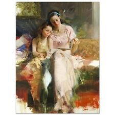 """Pino Giclee on Canvas Signed/# """"Bedtime Stories""""  coa SIZE 40X30 Mother/Daughter"""