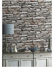3d effetto realistico Pietra Muro Di Mattoni Grigio Carta Da Parati Arthouse VIP 623000
