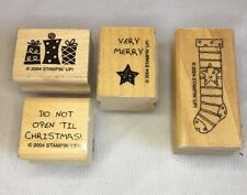 Stampin Up Set of 4 Rubber Stamps Very Merry Christmas Holiday Greeting Stocking