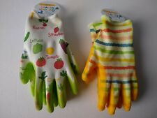 Gardening Gloves Yellow Multicolor Garden Gloves Kids Size Small Ages 8+ Lot (2)
