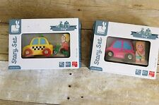 NEW! Janod City Story Set Pink Car & Girl & Taxi Cab & Scooter Wooden Toys sets
