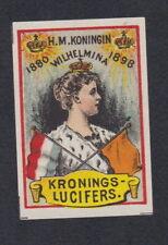 Ancienne  étiquette allumettes Hollande BN68969 Reine Wilhelmina