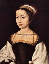 Oil painting corneille de lyon - Portrait of a Woman with necklace and scarf art