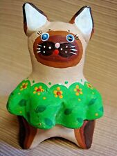 Small Hand Painted Clay Siamese Cat Figure Colorful & Unique