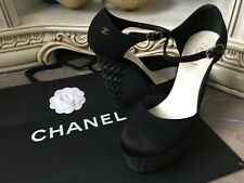 Chanel black Statement satin tweed effect gorgeous high heels size 38 / UK 5