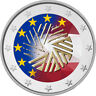 2 Euro Gedenkmünze Lettland 2015 coloriert Farbe / Farbmünze EU Ratspräsidentsch