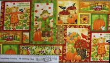 Patchwork Quilting Sewing Fabric GRATEFUL HARVEST SCARECROWS Panel 30x110cm NEW