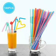 "100x Straws 10"" Rainbow Color Straw Cocktail Plastic Drinking Bar Birthday Party"