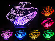 Sherman M4A3 Model Tank 3D Illusion Touch and Remote Control Acrylic LED Lamp