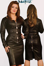 Misfitz black leather look pencil padlock skirt. Sizes 8-32 or made to measure