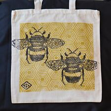 Honey Bee - Hand Printed Cotton Shopping Bag Gold- Bag for life, Linocut Tote