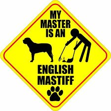 "MY MASTER IS AN ENGLISH MASTIFF 4"" DOG POOP STICKER"