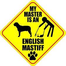 "MY MASTER IS AN ENGLISH MASTIFF 4"" DOG POOP STICKER"