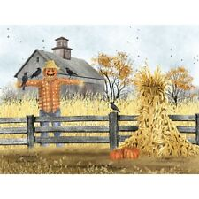 Billy Jacobs Scatterbrains Scarecrow and Pumpkin Art Print 16 x 12