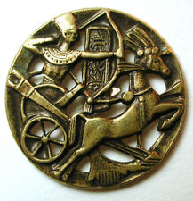 "Antique Pierced Brass Button Egyptian Chariot Scene - 1"""