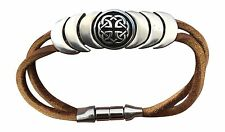 "Celtic Knot Symbol Leather Magnetic Bracelet ""Eternity"" Brown Hand Made L Irish"
