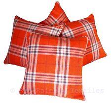 Set of 4 Orange Tartan Check 18 inch Piped Edge Cushion Covers