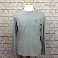 EA7 EMPORIO ARMANI MENS UK L TRAIN CORE ID GREY LONG SLEEVE CREW NECK TOP