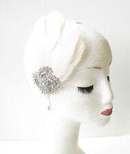 Cream Silver Feather Headband Fascinator Headpiece Vintage Diamante 1920s 1800