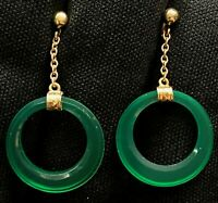"NICE ESTATE STERLING SILVER VERMEIL GREEN GLASS HOOP DANGLE EARRINGS 1 1/4"" LONG"
