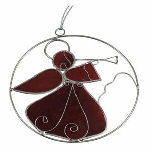 Angel Sun Catcher Cherry Red Hand Crafted Metal Hanging Ornament