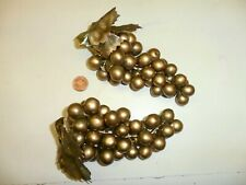2 Vintage Small Metallic Gold Color Vinyl Bunch of Grapes