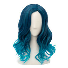 Lolita Heat Resistant Mixed Blue Ombre Curly Ladies Harajuku Cosplay Wig + Cap