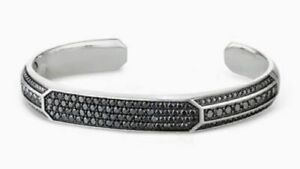 Heirloom Men's Cuff Bracelet with Black Round Cut Diamonds With Solid 925 Silver