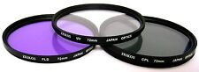 Zeikos 3-Piece Ultra Slim Pro Glass Filter Kit (72mm UV/Warming/CPL) w/ Pouch