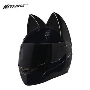 Cat ears Helmet full face NITRINOS Motorcycle racing motors helmet Unisex New HQ