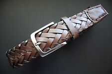 """NN BRN HANDCRAFTED FAUX LEATHER BRAIDED CASUAL JEANS BELT 38"""""""