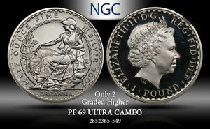 2007 G.BRITAIN 1P SEATED BRITANNIA FACING LEFT NGC PF69 U.CAMEO ONLY 2 HIGHER