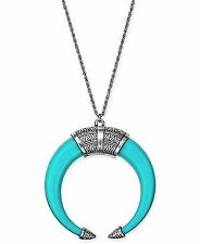 Macys Silver-Tone Turquoise-Look Open Horn Pendant Necklace