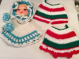 Collectible Handmade Crochet Pot Holder Set of 2 Red & Green Bloomers & Doll