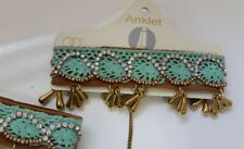 Anklet bracelet with beads/crystals N7-11/22 Boho Oriental style Brown Mint Gold
