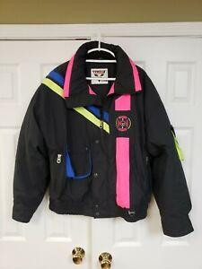 Vintage Tyrolia by Head Insulated Snow Ski Jacket Mens X Large Black Neon Pink