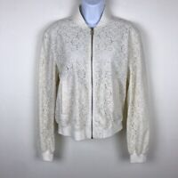 $149 RACHEL ROY Ivory Lace Bomber Jacket Size Small Full Zip Up with Pockets