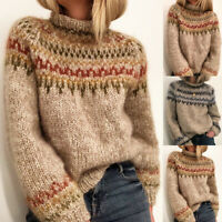 Womens Long Sleeve Knitted Sweater Top Ladies Winter Warm Pullover Jumper Shirts
