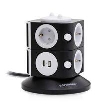 SAFEMORE Regleta Enchufes de 7 Tomas y 2 Puertos USB de Carga,Adaptador