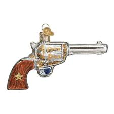 Western Revolver Old World Christmas Glass Hand Gun Shooting Ornament Nwt 36196